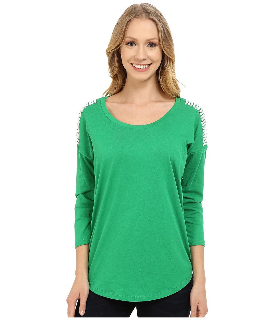 MICHAEL Michael Kors - Stud Shoulder 3/4 Sleeve Top (Spring Green) Women's Clothing
