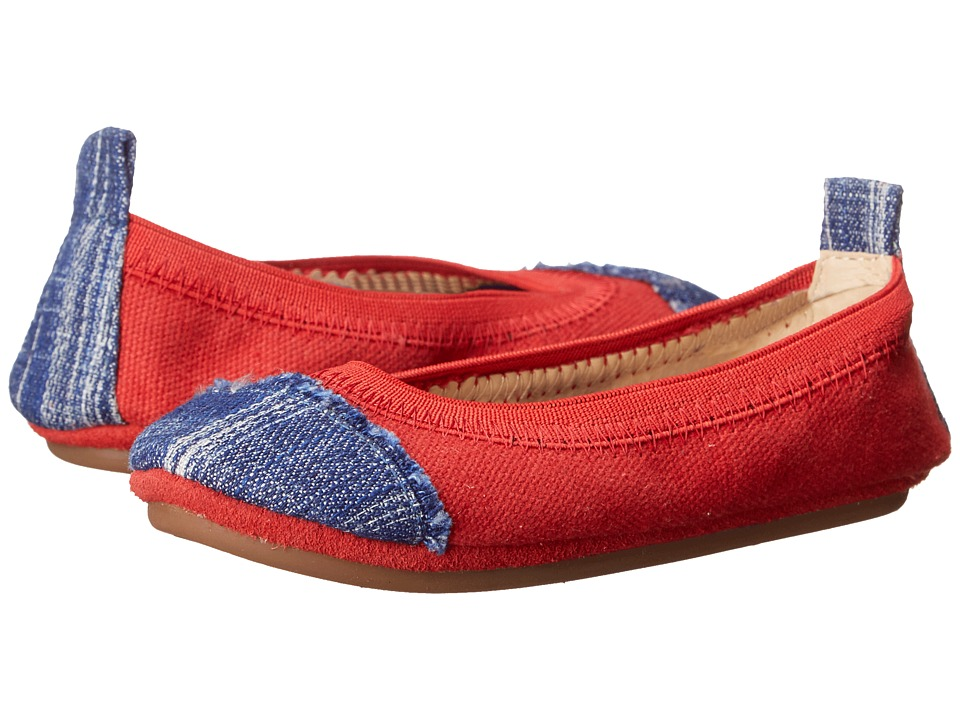 Yosi Samra Kids - Scarlet Denim Cap Toe (Toddler) (Engine Red/Mezzo Blue) Girl's Shoes