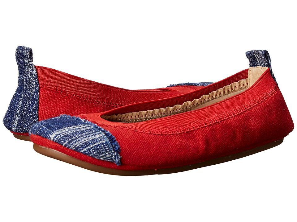 Yosi Samra Kids - Scarlet Denim Cap Toe (Toddler/Little Kid/Big Kid) (Engine Red/Mezzo Blue) Girl's Shoes