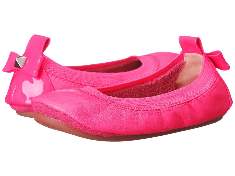 Yosi Samra Kids - Selma with Patent Leather Heel Bow and Stud (Toddler) (Shocking Pink) Girl's Shoes