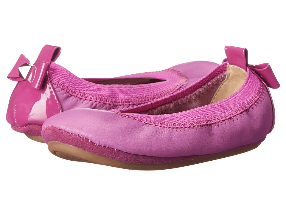 Yosi Samra Kids - Selma with Patent Leather Heel Bow and Stud (Toddler) (Vivid Violet) Girl's Shoes