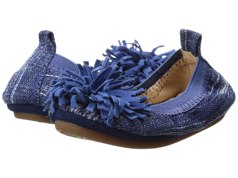 Yosi Samra Kids - Sammie with Pom Pom (Toddler) (Mezzo Blue/Marina Blue) Girl's Shoes