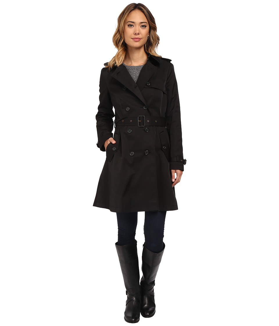 LAUREN Ralph Lauren - Kent Skirted Trench (Black) Women's Coat