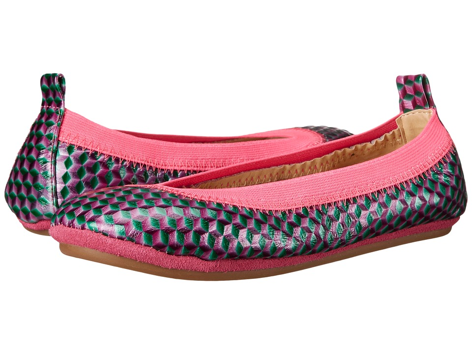Yosi Samra Kids - Sammie Embossed Holographic Leather (Toddler/Little Kid/Big Kid) (Shocking Pink) Girl's Shoes