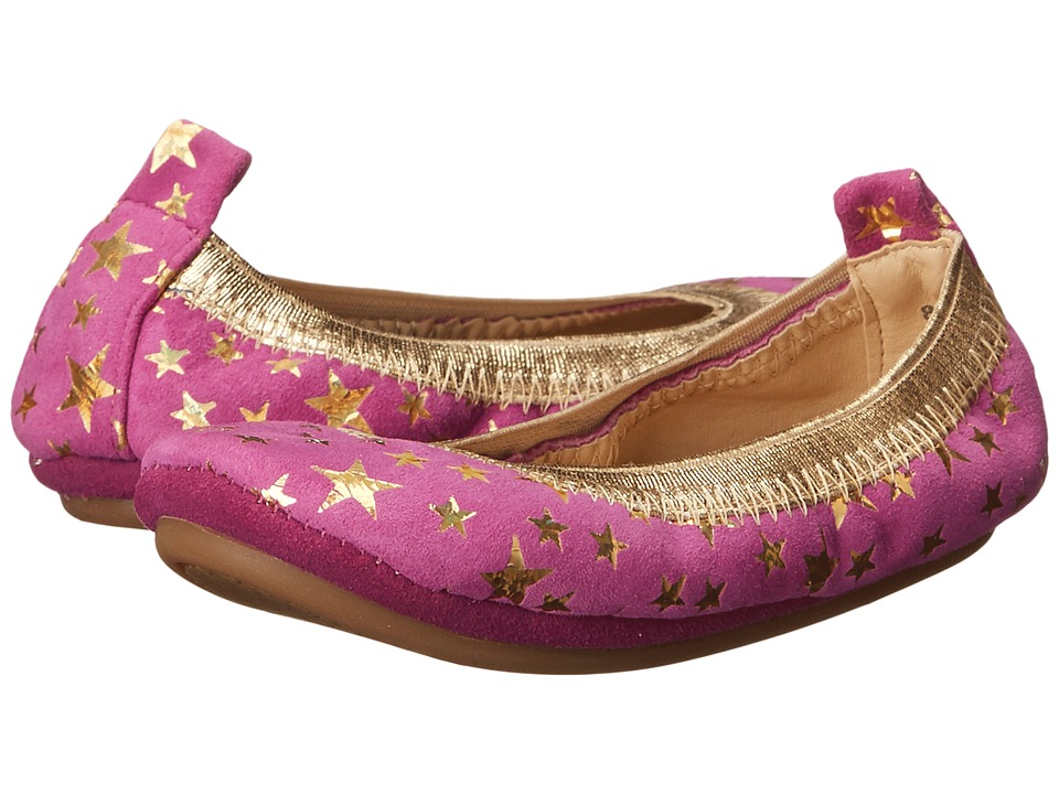 Yosi Samra Kids - Sammie Foil Printed Stars (Toddler) (Vivid Violet/Pure Gold Holographic) Girl's Shoes