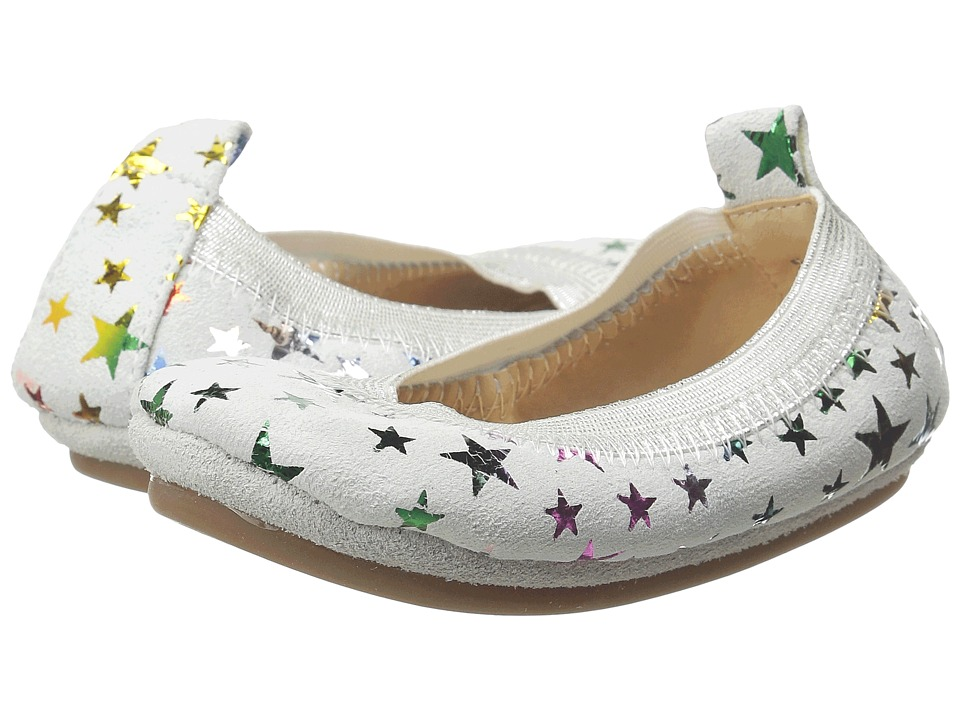 Yosi Samra Kids - Sammie Foil Printed Stars (Toddler) (White/Rainbow Metallic) Girl's Shoes