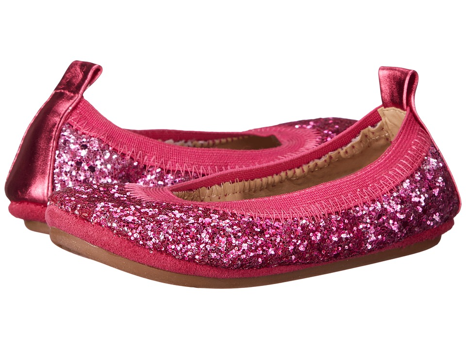 Yosi Samra Kids - Sonya Ombre Chunky Glitter (Toddler) (Shocking Pink Ombre Glitter) Girl's Shoes