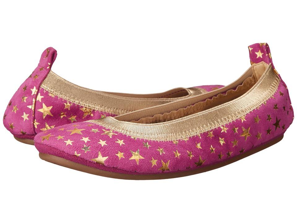 Yosi Samra Kids - Sammie Foil Printed Stars (Toddler/Little Kid/Big Kid) (Vivid Violet/Pure Gold Holographic) Girl's Shoes