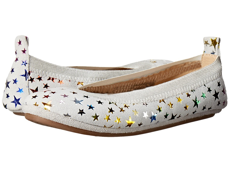 Yosi Samra Kids - Sammie Foil Printed Stars (Toddler/Little Kid/Big Kid) (White/Rainbow Metallic) Girl's Shoes