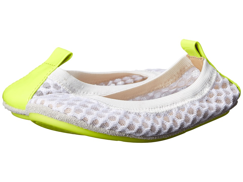 Yosi Samra Kids - Sammie 3D Mesh with Contrast Sole (Toddler) (White/Citron) Girl's Shoes
