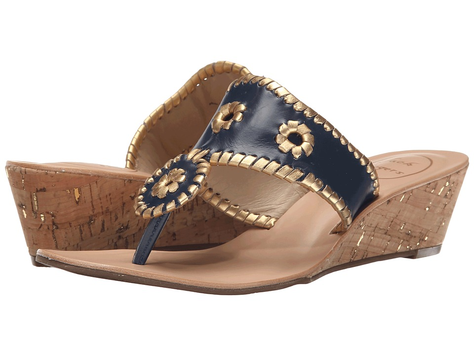Jack Rogers - Jacks Mid Wedge (Midnight/Gold) Women's Wedge Shoes
