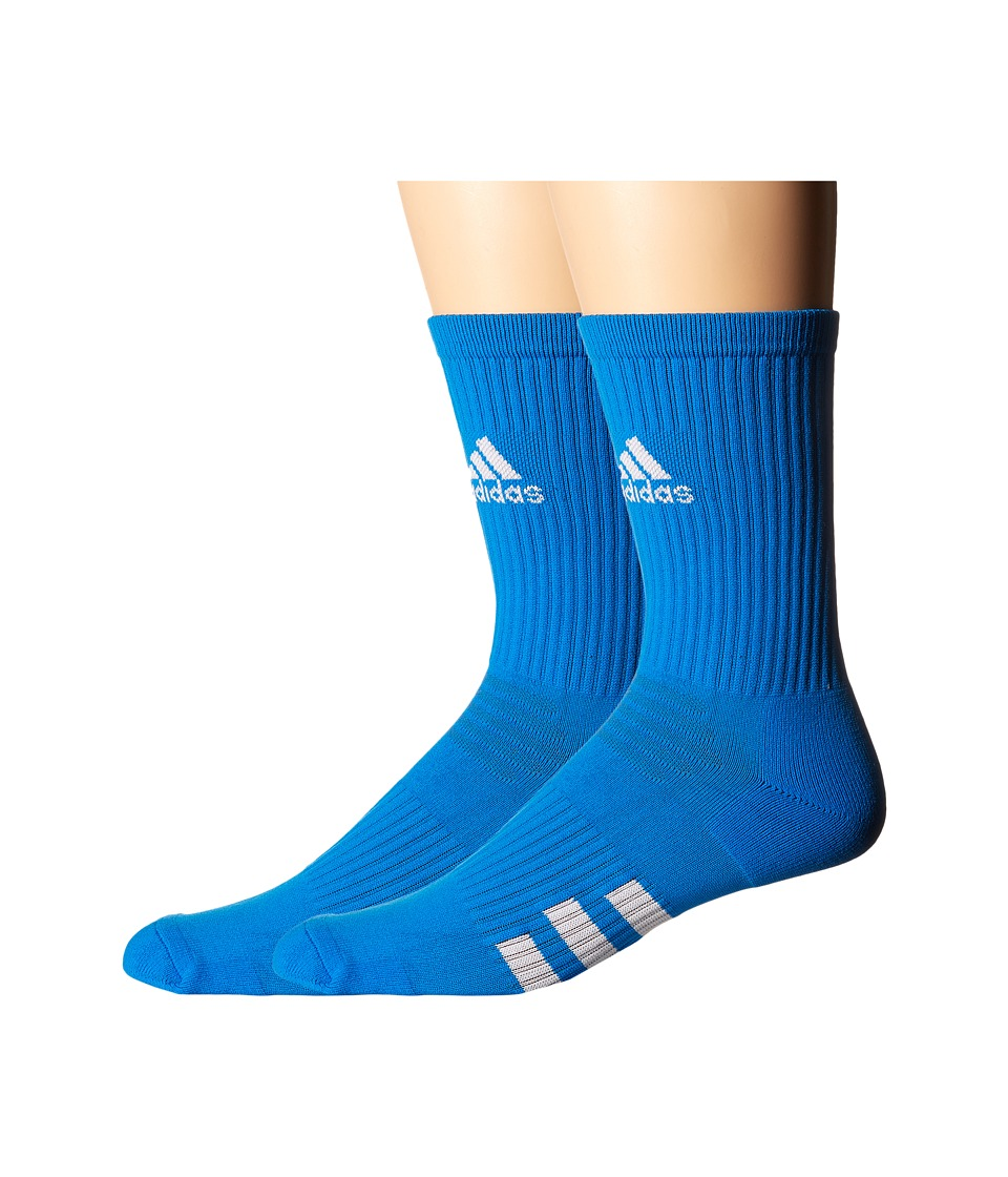 adidas Golf - 2-Pack Golf Crew (Shock Blue) Men's Crew Cut Socks Shoes