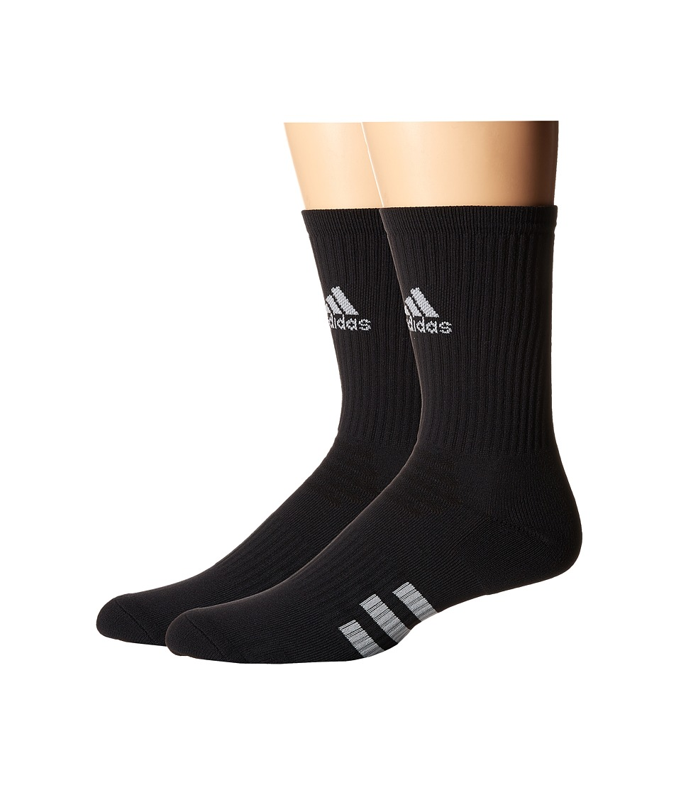 adidas Golf - 2-Pack Golf Crew (Black) Men's Crew Cut Socks Shoes