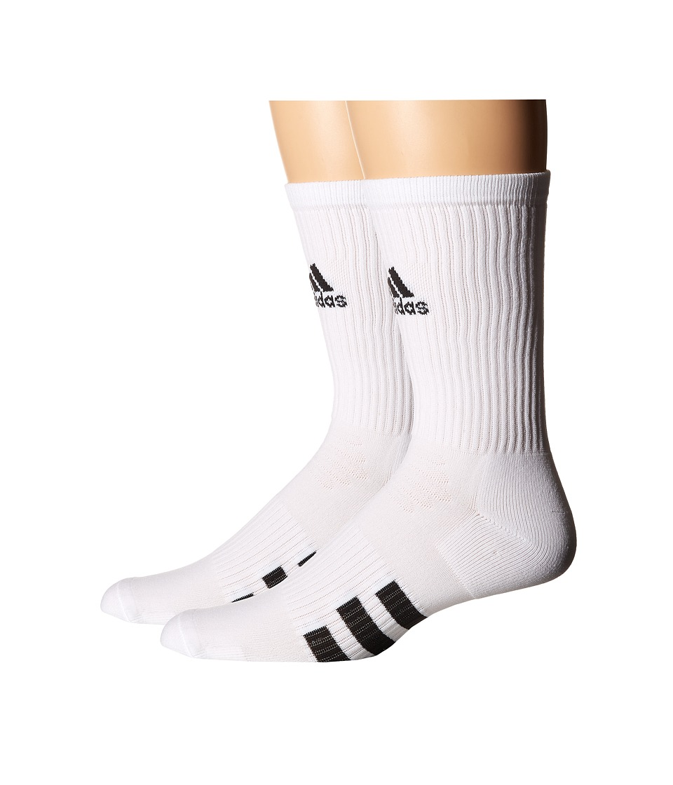 adidas Golf - 2-Pack Golf Crew (White) Men's Crew Cut Socks Shoes