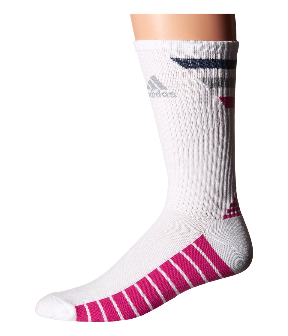 adidas Golf - Single 3-Stripes Crew (White/Mineral Blue/Mid Grey/EQT Pink) Men's Crew Cut Socks Shoes