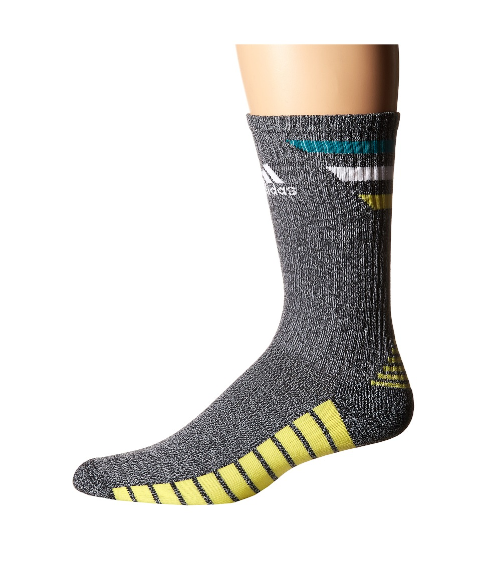 adidas Golf - Single 3-Stripes Crew (Black/EQT Green/White/Light Yellow) Men's Crew Cut Socks Shoes