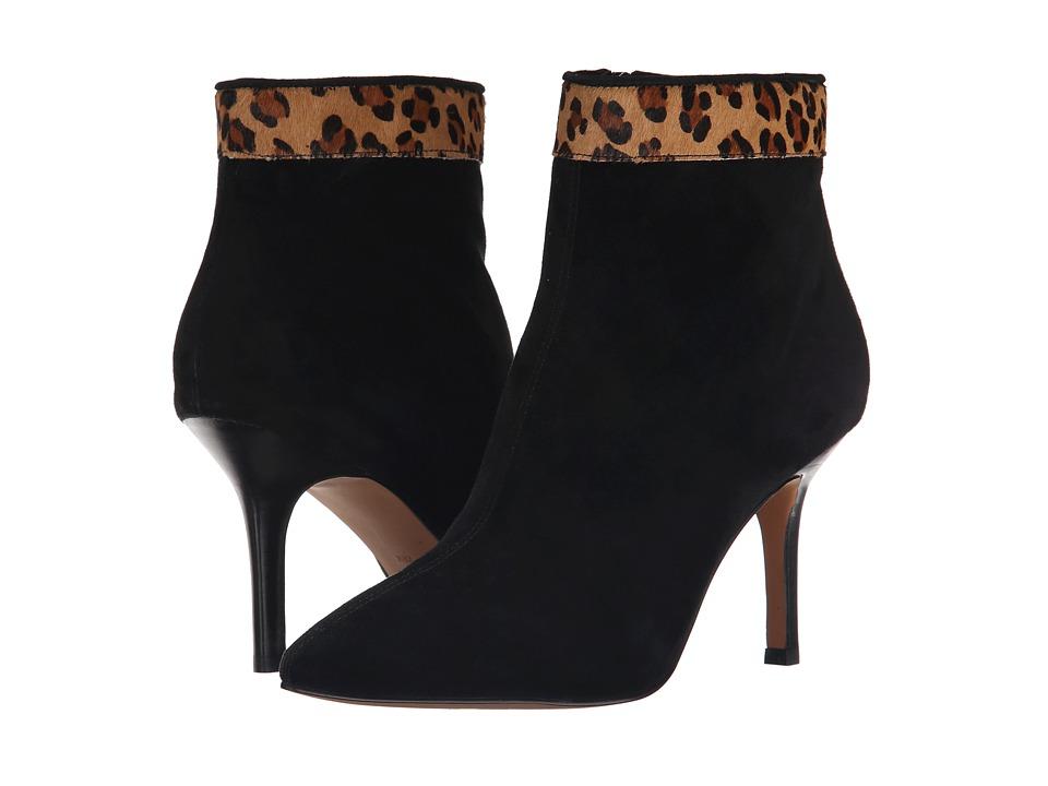 Nicole Miller Artelier - Chelsea (Black Suede/Dark Brown Leopard Pony) Women's Boots