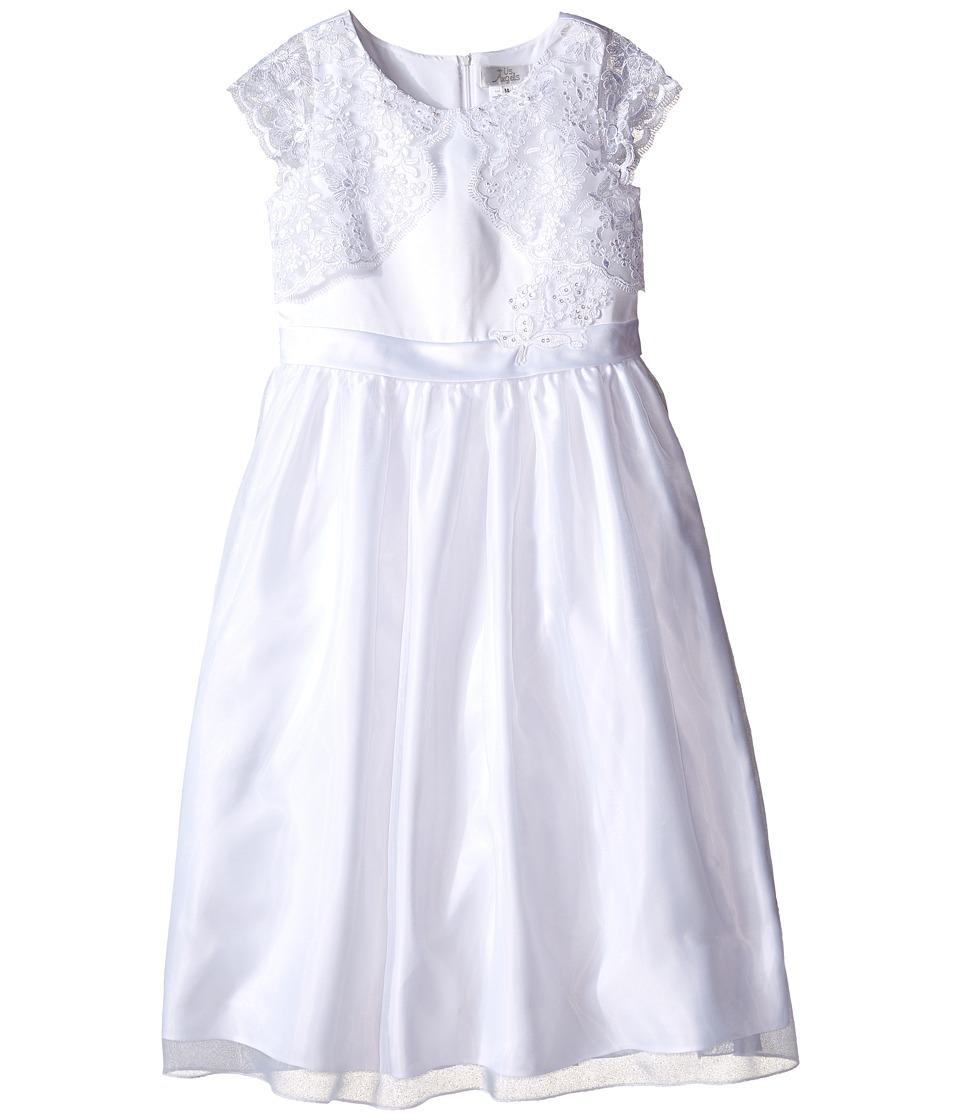 Us Angels - Cap Sleeve Lace Mock Bolero w/ Full Skirt (Little Kids/Big Kids) (White) Girl's Dress