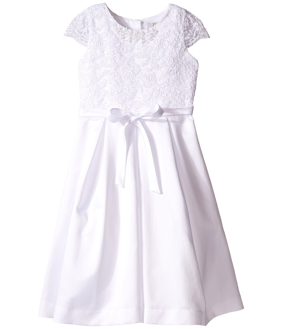 Us Angels - Cap Sleeve Corded Lace Bodice w/ Box Pleat Skirt (Little Kids/Big Kids) (White) Girl's Dress