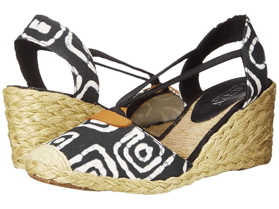 LAUREN Ralph Lauren - Cala (Black/White Batik Tribal Cotton) Women's Wedge Shoes