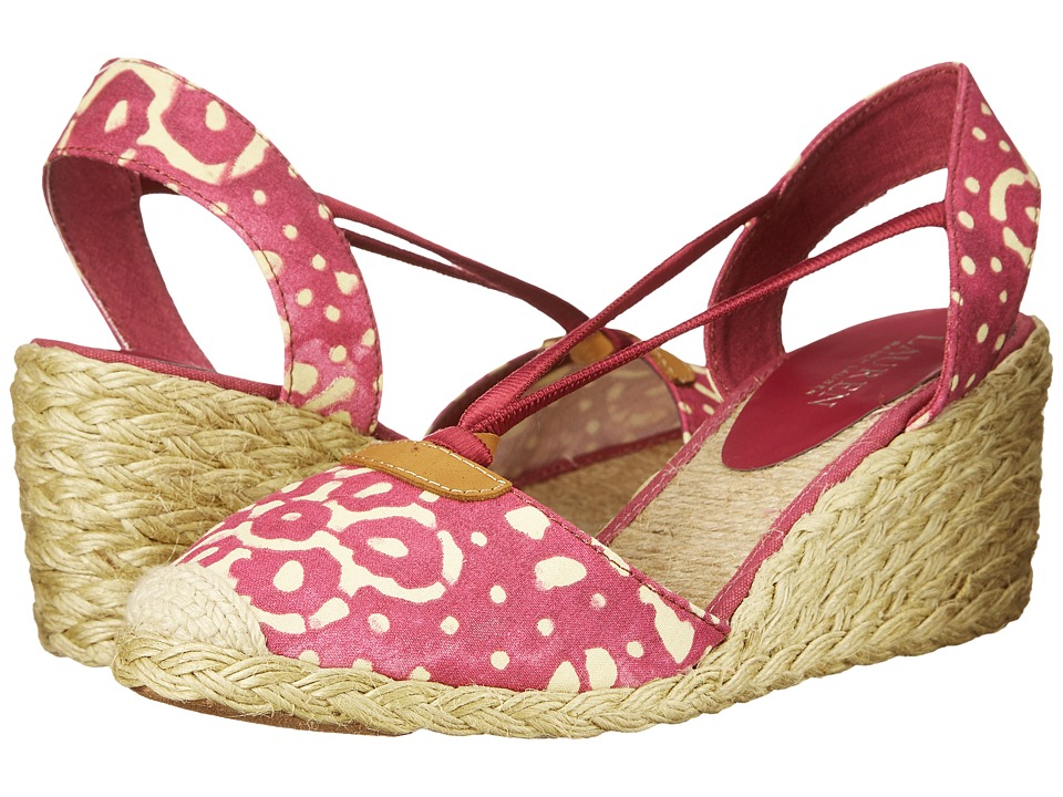 LAUREN Ralph Lauren Cala Persimmon-Wheat Batik Floral Cotton Womens Wedge Shoes