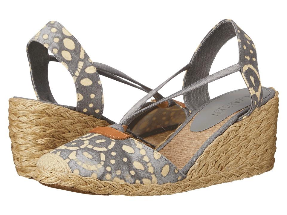 LAUREN Ralph Lauren - Cala (Stone/Wheat Batik Floral Cotton) Women's Wedge Shoes