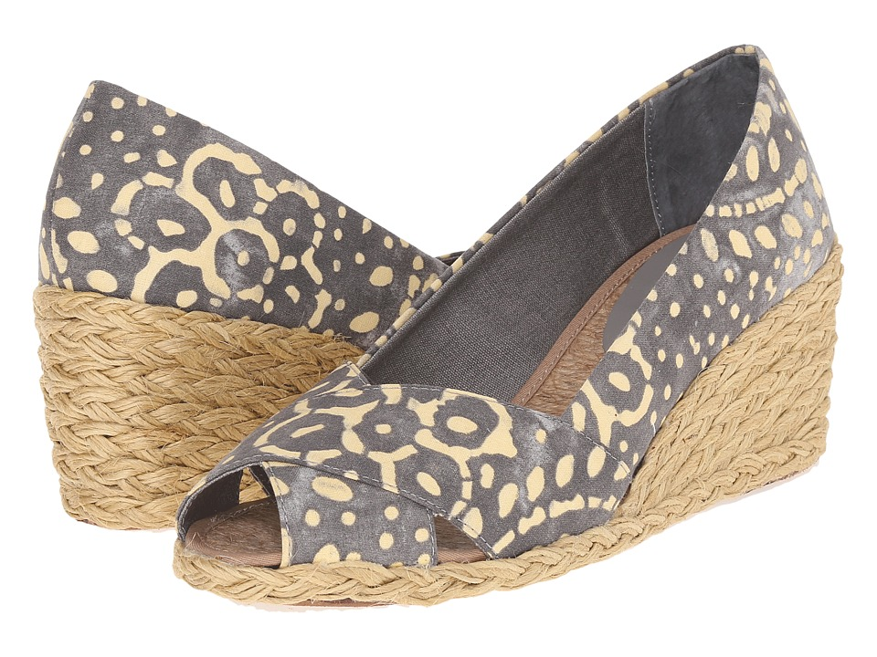 LAUREN Ralph Lauren Cecilia Stone-Wheat Batik Floral Cotton Womens Wedge Shoes