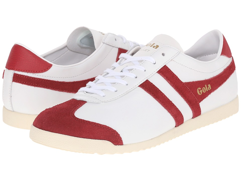 Gola - Bullet Leather (White/Deep Red) Men's Shoes