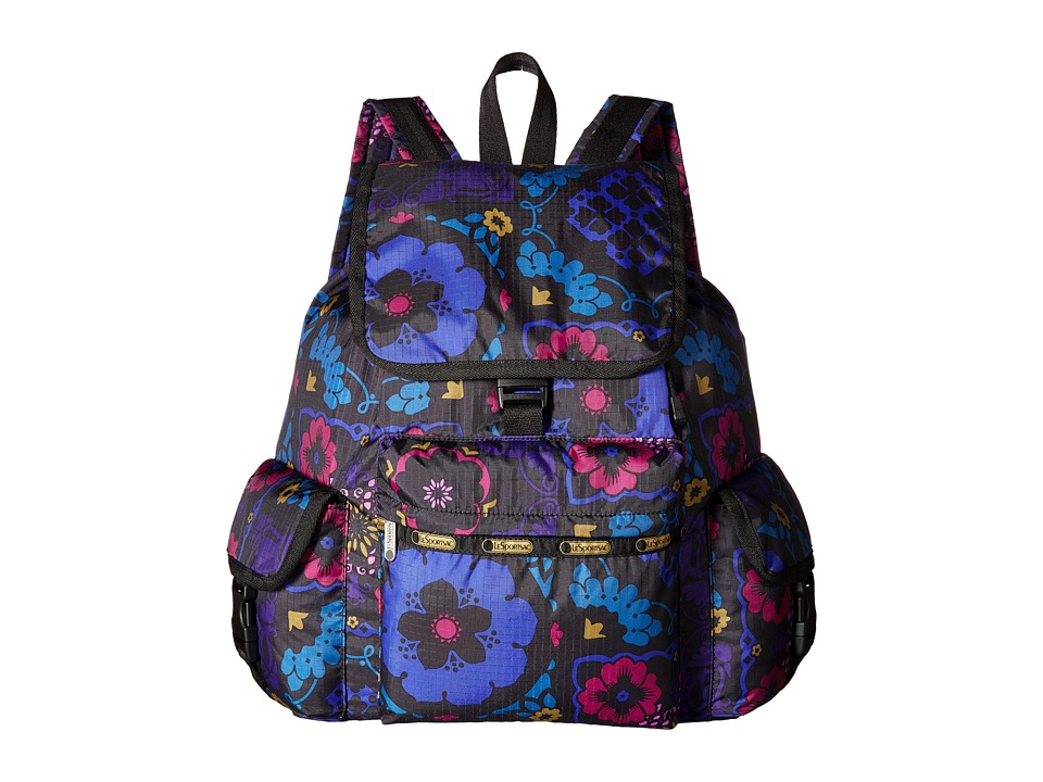 LeSportsac - Voyager Backpack (Midnight Flower Patch) Backpack Bags