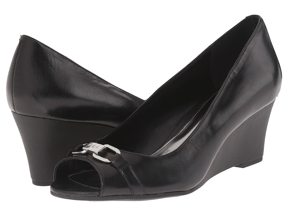LAUREN Ralph Lauren - Paula (Black Kidskin) Women's Wedge Shoes