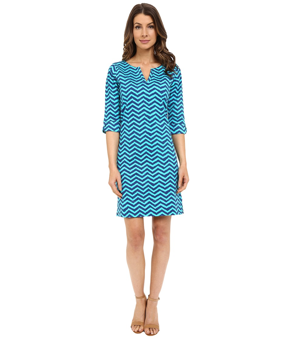 Hatley - Peplum Sleeve Dress (Turquoise Chevron) Women's Dress
