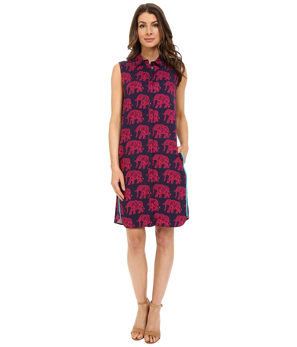 Hatley - Sleeveless Shirtdress (Fuchsia Elephants) Women's Dress
