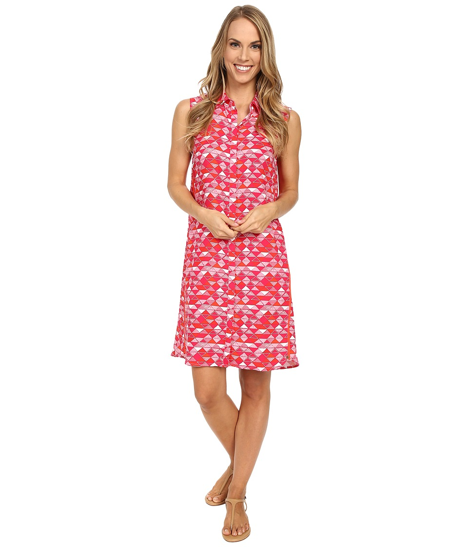 Hatley - Sleeveless Shirtdress (Fuchsia Triangles) Women's Dress