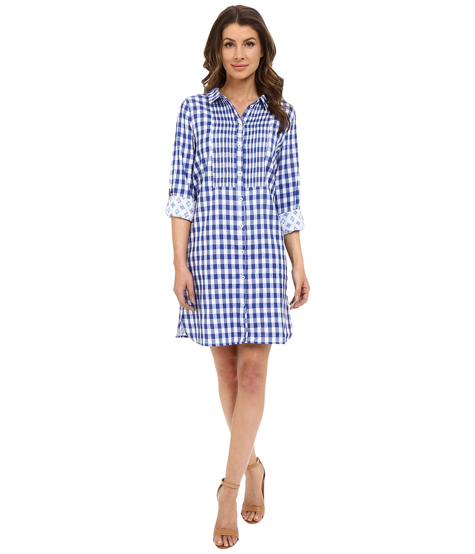 Hatley - Cotton Shirtdress (Sea Blue Gingham) Women's Dress