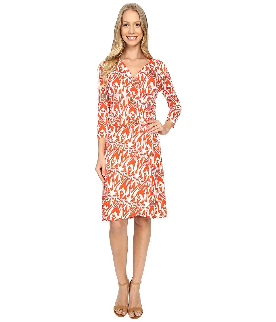 Hatley - Faux Wrap Dress (Orange Ikat) Women's Dress