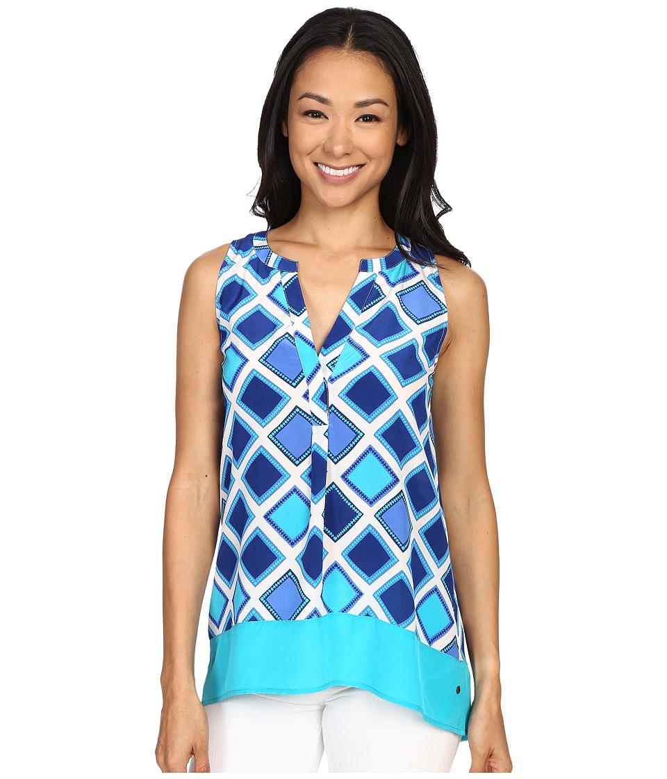 Hatley - Silk Blouse (Turquoise Aztec) Women's Blouse