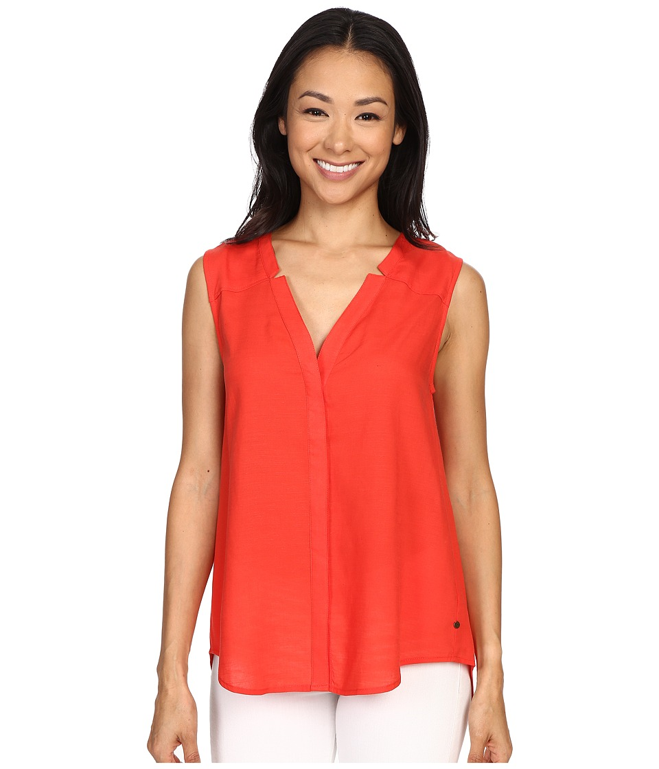 Hatley - Sleeveless Button Down Blouse (Hot Orange) Women's Blouse