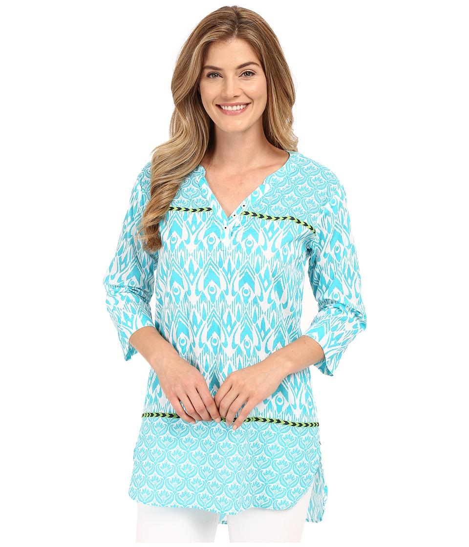 Hatley - Turquoise Ikat Women's Beach Tunic (Turquoise Ikat) Women's Clothing