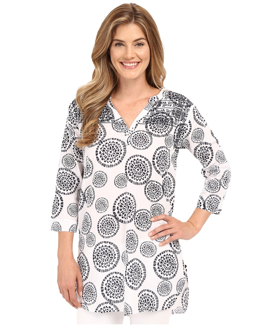 Hatley - Mandala Women's Beach Tunic (White/Navy Mandala) Women's Clothing