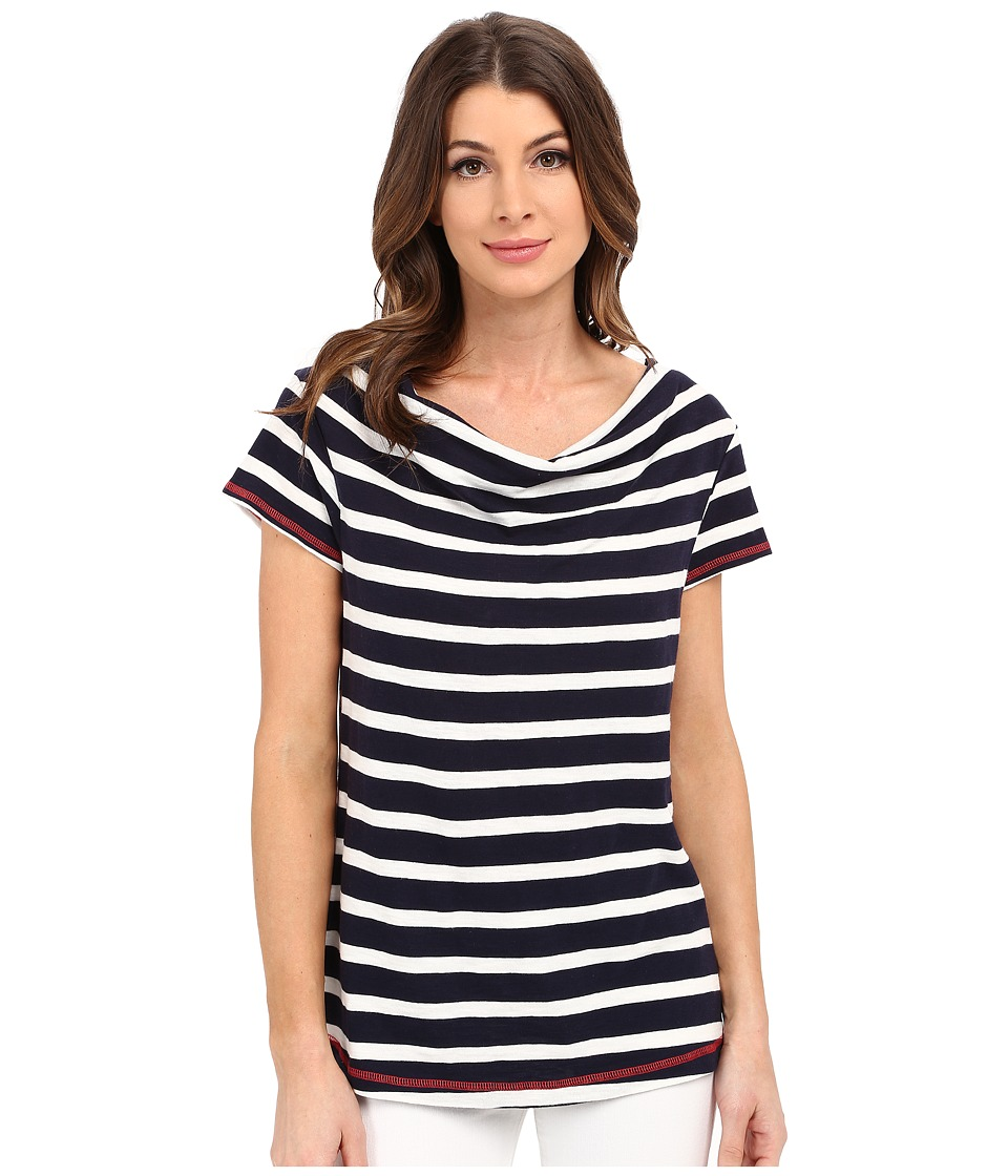 Hatley - Cowel Neck Top (Navy Stripes) Women's Short Sleeve Pullover