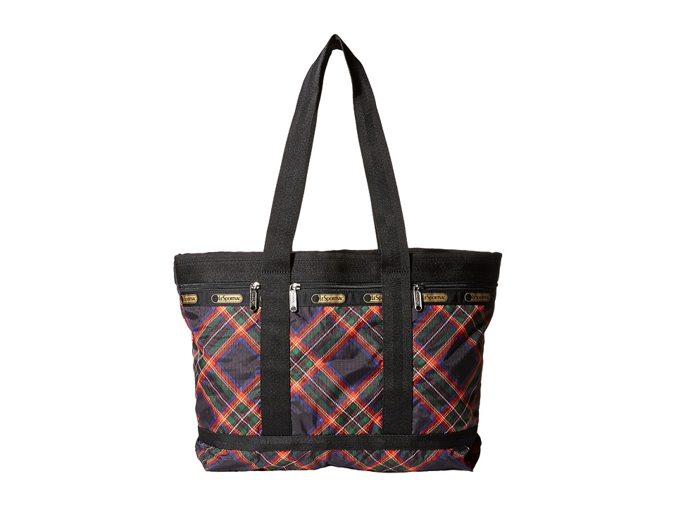 LeSportsac Luggage - Medium Travel Tote (Cozy Plaid Black) Tote Handbags