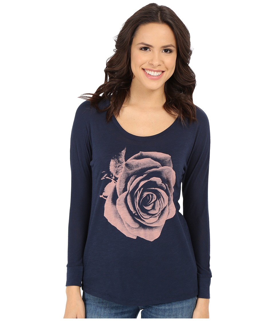 Lucky Brand Photographic Rose Tee (American Navy) Women