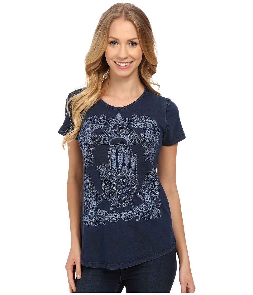 Lucky Brand Embroidered Hamsa Hand Tee (Indigo) Women