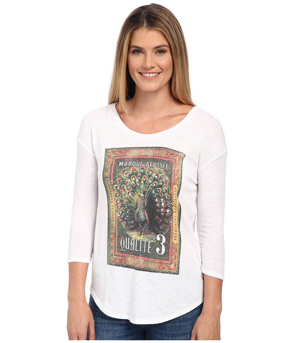 Lucky Brand Peacock Stamp Tee (Lucky White) Women