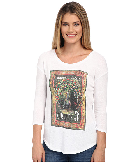 Lucky Brand - Peacock Stamp Tee (Lucky White) Women's T Shirt