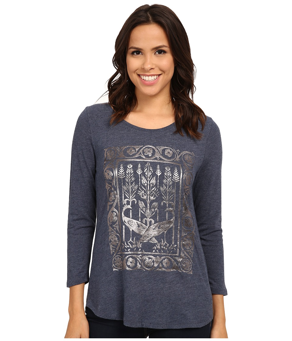 Lucky Brand Metallic Birds Tee (Blue Multi) Women