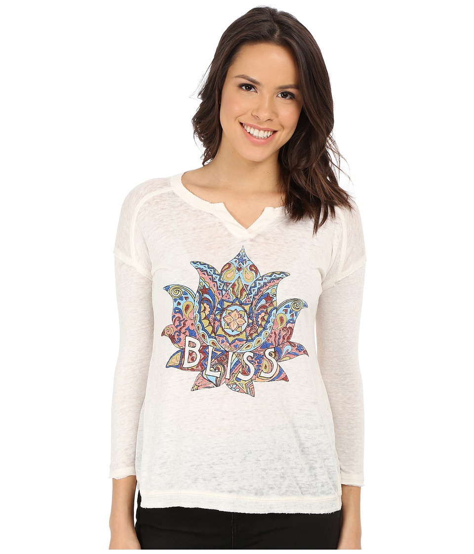Lucky Brand - Bliss Lotus Tee (Marshmallow) Women
