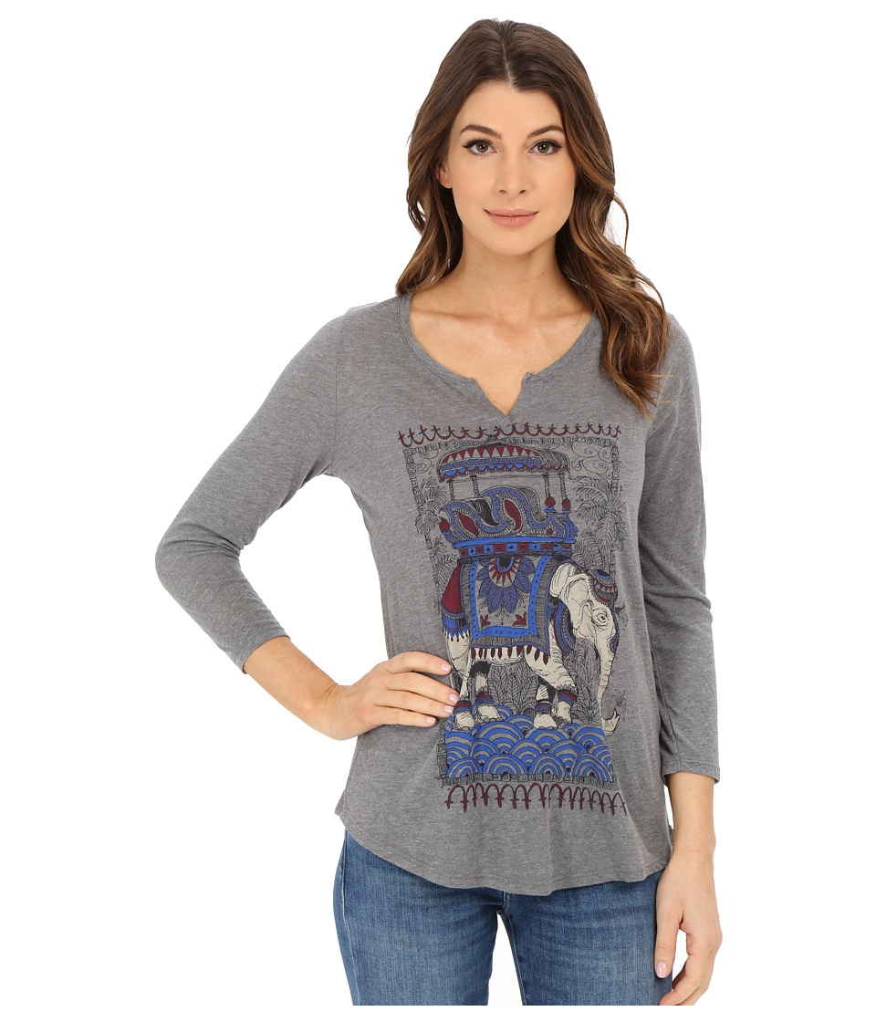 Lucky Brand - Sketched Elephant Tee (Heather Grey) Women's T Shirt