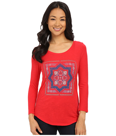 Lucky Brand - Placed Medallion Tee (Festive Red) Women's T Shirt
