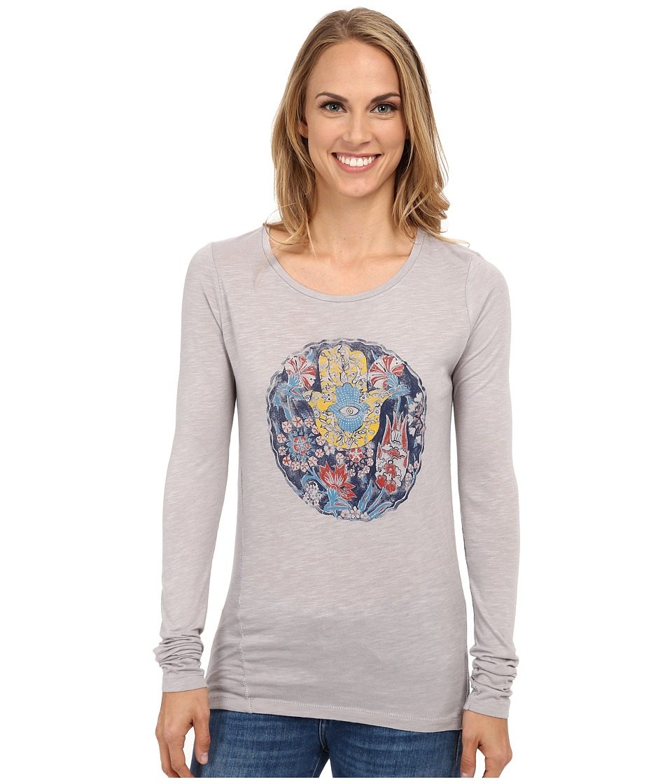 Lucky Brand - Floral Hamsa Tee (Light Grey) Women